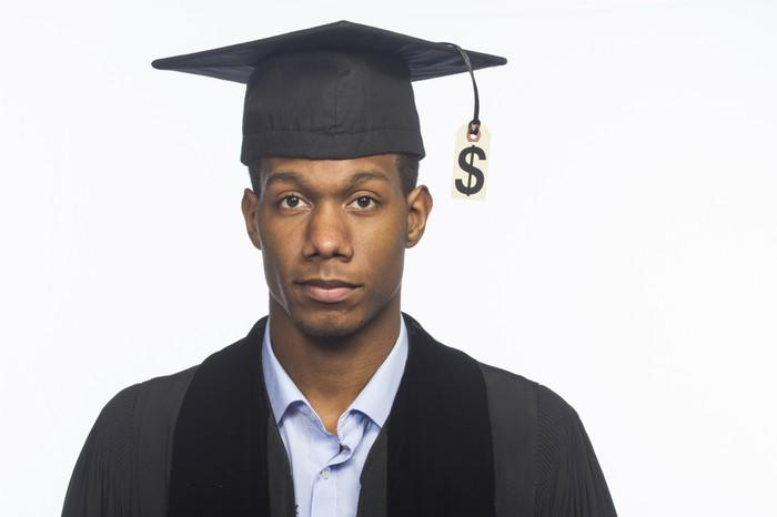 College graduate in cap and gown with dollar sign hanging from tassel.