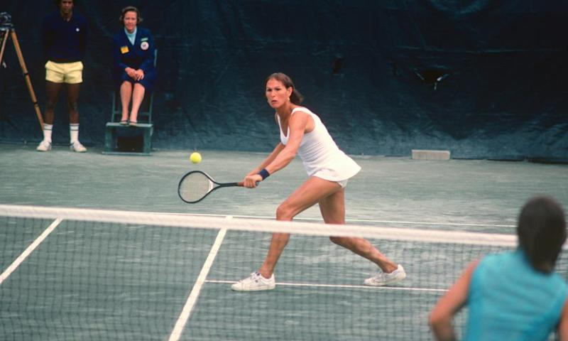 Renee Richards hits a return during the Women's 1977 US Open Tennis Championships circa 1977