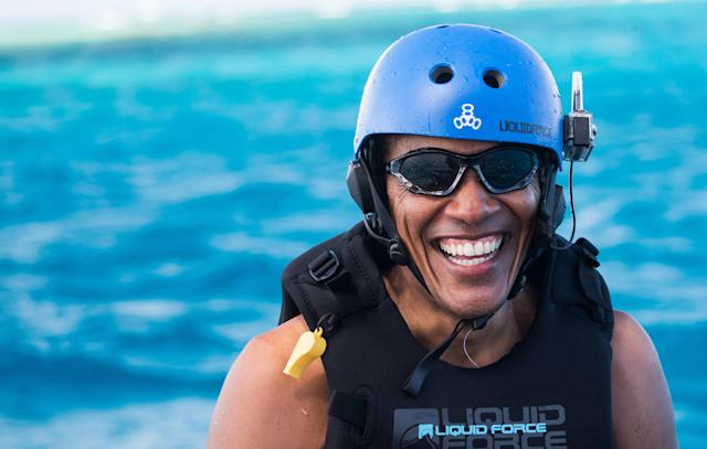 Obama takes a break from learning to kitesurf at Richard Branson's Necker Island retreat on February 1, 2017 in the British Virgin Islands.  (Jack Brockway via Getty Images)