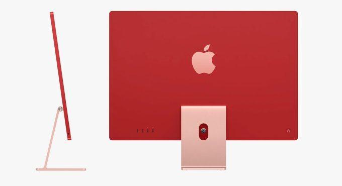 back and side views of red 2021 Apple iMac