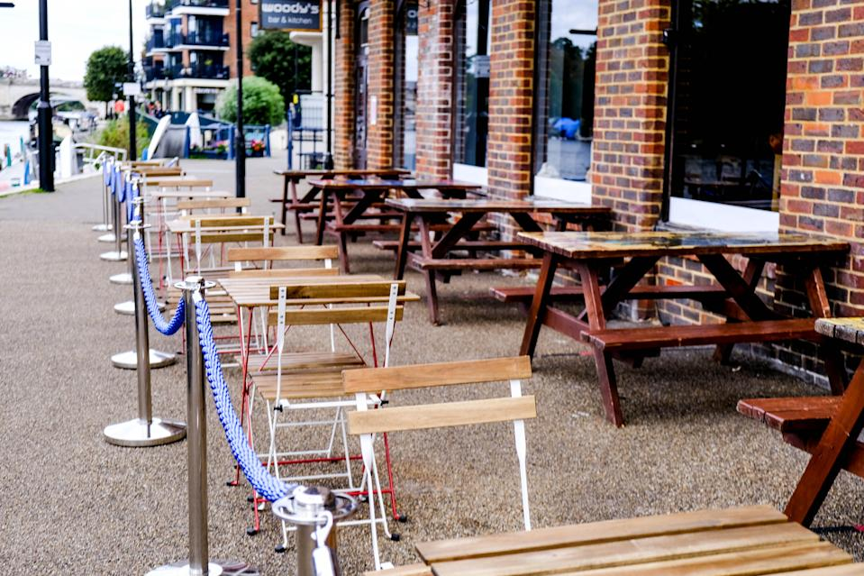 London UK, September 25 2020, Empty Seating Area Outside A Restaurant, Hospitality Industry Crisis, COVID-19 Pandemic