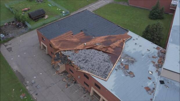 Staff are asked to stay out of Carleton North High School in Florenceville-Bristol until officials inspect the damage caused by high winds Wednesday. (Submitted by Brian Davis - image credit)