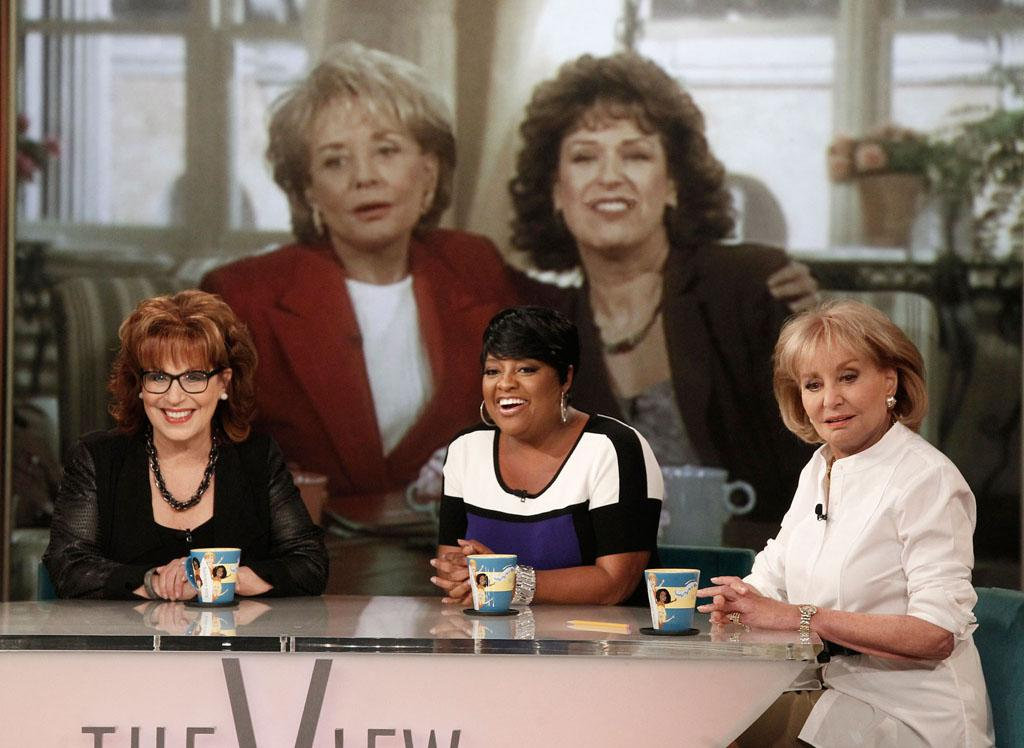 """Joy Behar, Sherri Shepherd, and Barbara Walters on Joy's final episode as co-host of ABC's """"The View"""" on Friday, August 9, 2013."""