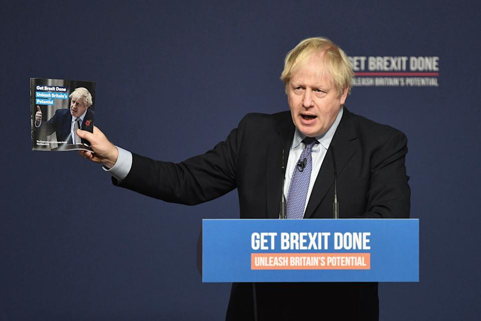 Prime Minister Boris Johnson at the launch of his party's General Election manifesto in Telford, West Midlands. PA Photo. Picture date: Sunday November 24, 2019. See PA story POLITICS Election. Photo credit should read: Stefan Rousseau/PA Wire