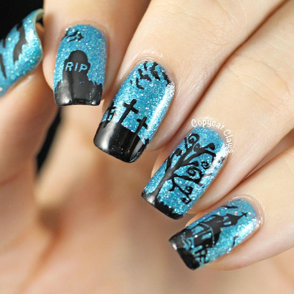 "<p>Glittery nails are always eye-catching, but when you top it off with a spooky graveyard scene, consider the contest won. </p><p><em><a href=""http://copycatclaws.blogspot.com/2014/10/sunday-stamping-halloween-nails.html"" rel=""nofollow noopener"" target=""_blank"" data-ylk=""slk:Get the tutorial at Copycat Claws »"" class=""link rapid-noclick-resp"">Get the tutorial at Copycat Claws »</a></em><br></p>"