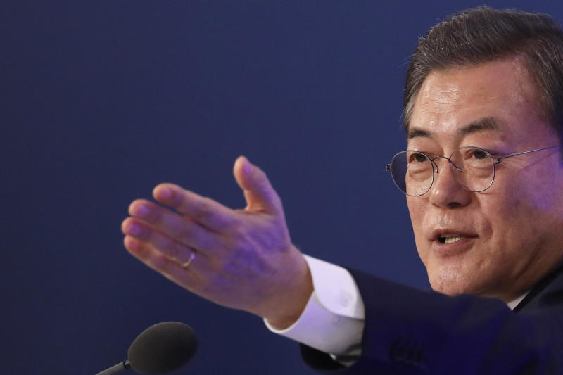South Korean President Moon Jae-in gestures during his New Year press conference at the presidential Blue House in Seoul, South Korea, Tuesday, Jan. 14, 2020. (Kim Hong-Ji/Pool Photo via AP)