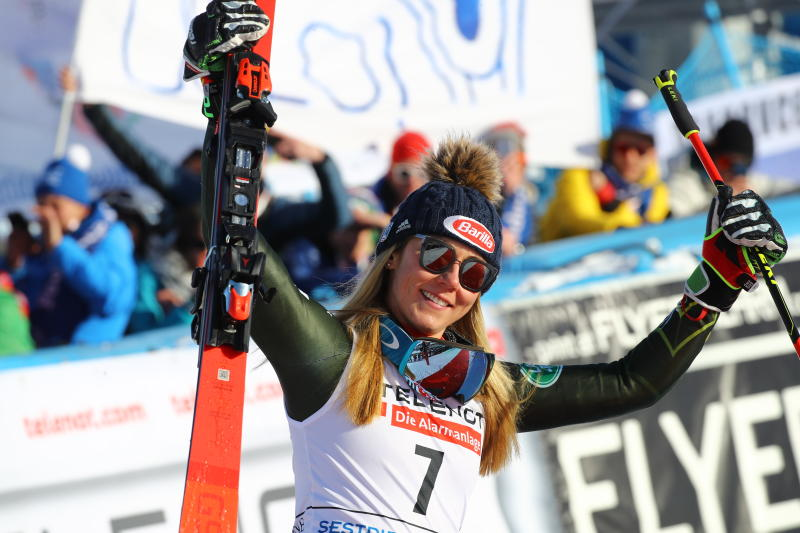 Third placed United States' Mikaela Shiffrin celebrates at the finish area at the end of an alpine ski, World Cup women's giant slalom in Sestriere, Italy, Saturday, Jan. 18, 2020. (AP Photo/Marco Trovati)