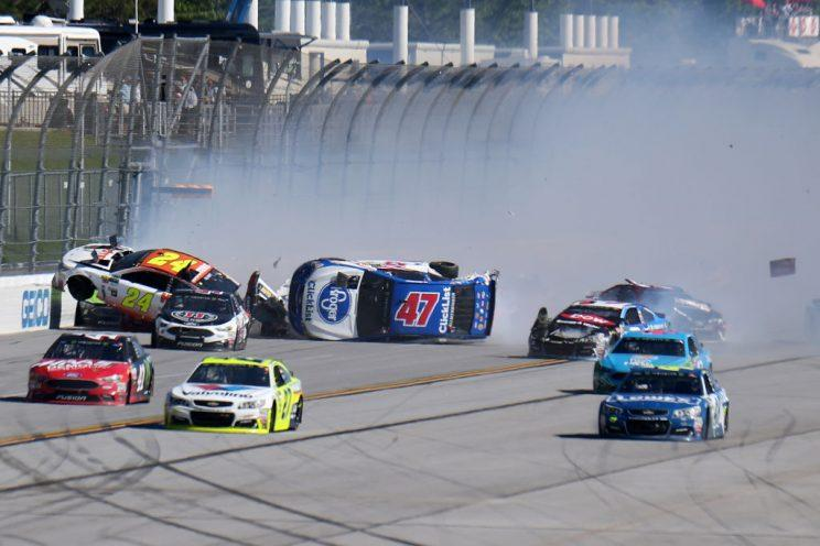 Chase Elliott (24) and AJ Allmendinger (47) are pointed the wrong way. (Getty Images)