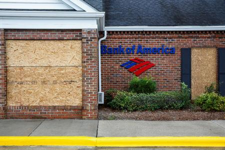 The Bank of America is seen covered in plywood as the Hurricane Florence comes ashore in New Bern, North Carolina