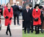 <p>Middleton first wore her red Armani coat in December 2006 (before her marriage to Prince William) and then brought the look back in April 2013. </p>