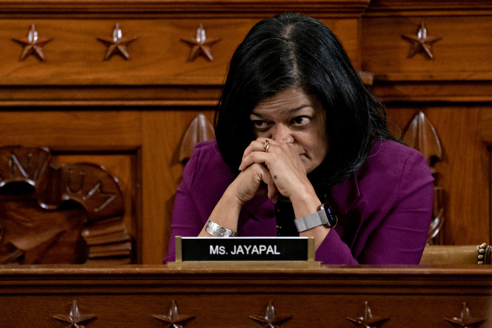 WASHINGTON, DC - DECEMBER 12: U.S. House Judiciary Committee member Pramila Jayapal (D-WA) listens during a committee hearing on the articles of impeachment against President Donald Trump at the Longworth House Office Building on Thursday December 12, 2019 in Washington, DC. The articles of impeachment charge Trump with abuse of power and obstruction of Congress. House Democrats claim that Trump posed a 'clear and present danger' to national security and the 2020 election in his dealings with Ukraine over the past year. (Photo by Andrew Harrer-Pool/Getty Images)