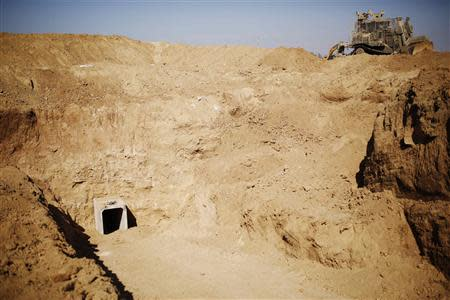 An entrance to a tunnel exposed by the Israeli military is seen near Kibbutz Ein Hashlosha, just outside the southern Gaza Strip