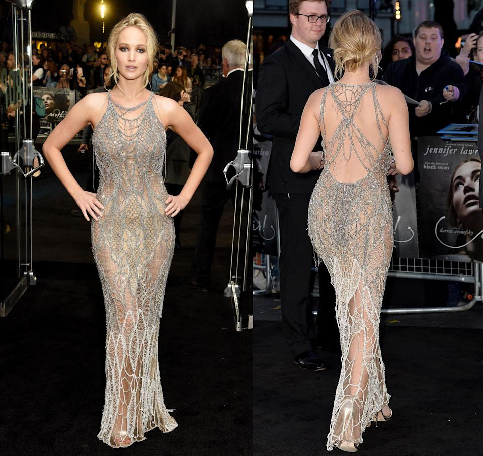 Front and back views of Jennifer Lawrence's Versace dress [Photo: Getty]