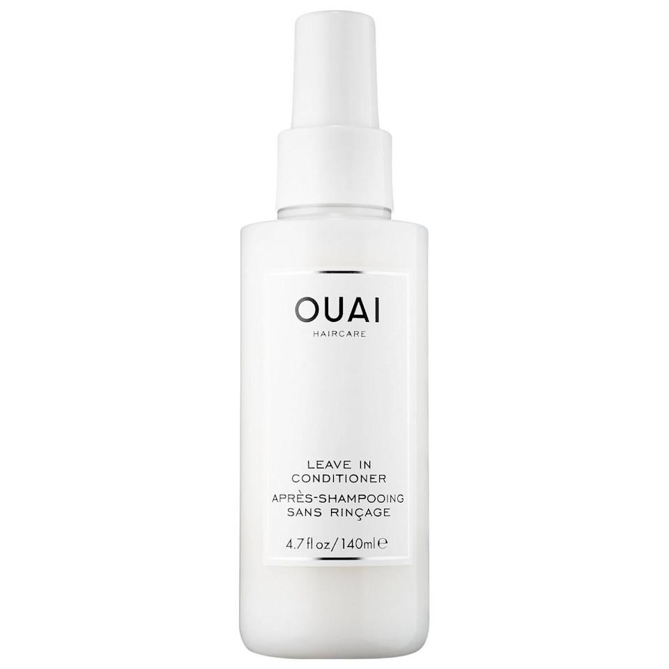 """<p><strong>OUAI</strong></p><p>sephora.com</p><p><strong>$26.00</strong></p><p><a href=""""https://go.redirectingat.com?id=74968X1596630&url=https%3A%2F%2Fwww.sephora.com%2Fproduct%2Fleave-in-conditioner-P428222&sref=https%3A%2F%2Fwww.harpersbazaar.com%2Fbeauty%2Fhair%2Fg5620%2Fbest-leave-in-conditioners%2F"""" rel=""""nofollow noopener"""" target=""""_blank"""" data-ylk=""""slk:SHOP"""" class=""""link rapid-noclick-resp"""">SHOP</a></p><p>This do-it-all spray works on all hair types to leave strands smooth and shiny (and smelling extra amazing).</p>"""