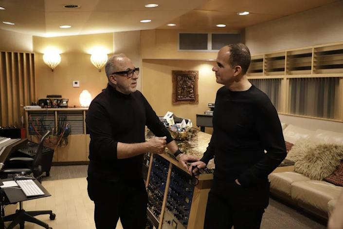 Marcus Lemonis, right, visits with Emilio Estefan on the CNBC episode of 'Streets of Dreams' focusing on Little Havana which airs Tuesday Jan. 12, 2021.