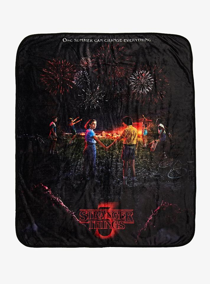 """<p>Getting a little chilly during that scary movie marathon? Curl up under this <a href=""""http://www.boxlunch.com/product/stranger-things-season-3-poster-throw---boxlunch-exclusive/12032819.html"""" target=""""_blank"""" class=""""ga-track"""" data-ga-category=""""Related"""" data-ga-label=""""http://www.boxlunch.com/product/stranger-things-season-3-poster-throw---boxlunch-exclusive/12032819.html"""" data-ga-action=""""In-Line Links""""><strong>Stranger Things</strong> Season 3 Poster Throw</a> ($24, originally $30).</p>"""
