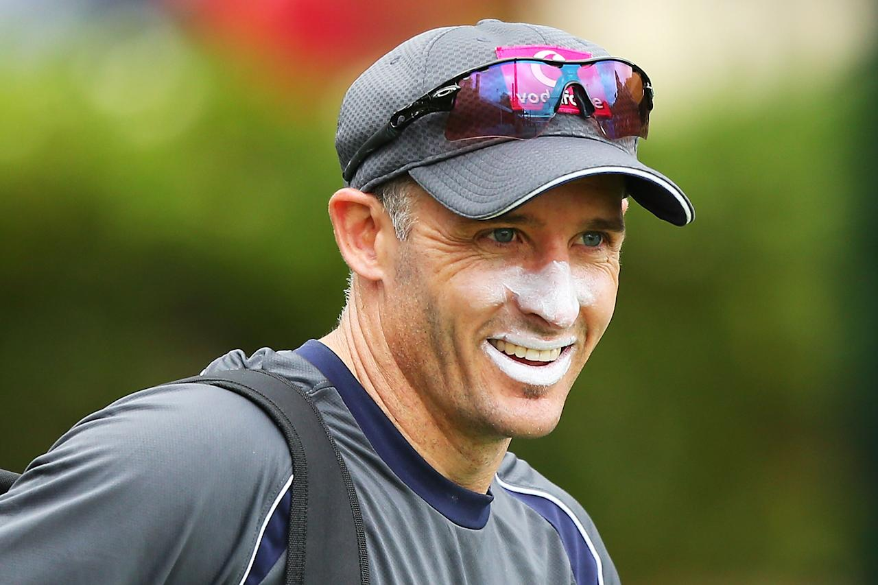SYDNEY, AUSTRALIA - JANUARY 02:  Michael Hussey of Australia shares a joke with a team mate during an Australian nets session at Sydney Cricket Ground on January 2, 2013 in Sydney, Australia.  (Photo by Brendon Thorne/Getty Images)