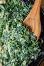 """<p>Creamed spinach is a simple side dish that is also the perfect way to use up any dying spinach. The creaminess will make you forget you're eating spinach and make everyone a fan.</p><p>Get the <a href=""""https://www.delish.com/uk/cooking/recipes/a30425708/easy-creamed-spinach-recipe/"""" rel=""""nofollow noopener"""" target=""""_blank"""" data-ylk=""""slk:Creamed Spinach"""" class=""""link rapid-noclick-resp"""">Creamed Spinach</a> recipe.</p>"""