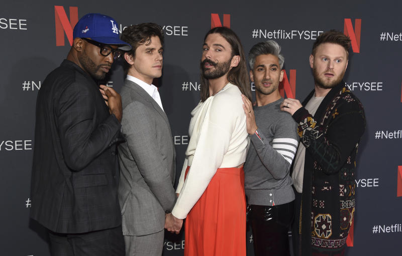 The cast of Queer Eye: Karamo Brown, from left, Antoni Porowski, Jonathan Van Ness, Tan France and Bobby Berk, in Los Angeles. (Photo: Chris Pizzello/Invision/AP)