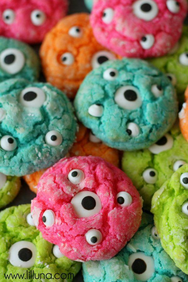 "<p>Try these Gooey Monster Cookies as an alternative to regular sugar cookies. </p><p><strong>Get the recipe at <a href=""https://lilluna.com/gooey-monster-cookies/"" rel=""nofollow noopener"" target=""_blank"" data-ylk=""slk:Lil' Luna"" class=""link rapid-noclick-resp"">Lil' Luna</a>. </strong></p><p><strong><a class=""link rapid-noclick-resp"" href=""https://www.amazon.com/Eyeballs-Decorations-Personalities-Christmas-Decoration/dp/B07KSSR29M/?tag=syn-yahoo-20&ascsubtag=%5Bartid%7C2139.g.34440360%5Bsrc%7Cyahoo-us"" rel=""nofollow noopener"" target=""_blank"" data-ylk=""slk:SHOP CANDY EYEBALLS"">SHOP CANDY EYEBALLS</a><br></strong></p>"