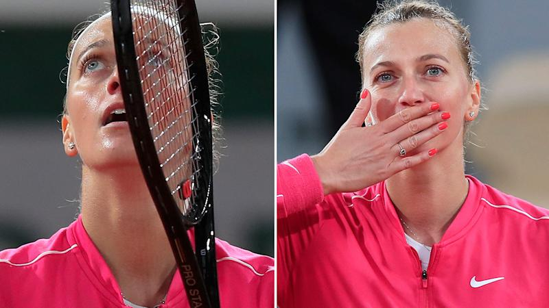 Pictured here, an emotional Petra Kvitova breaks down at the French Open.