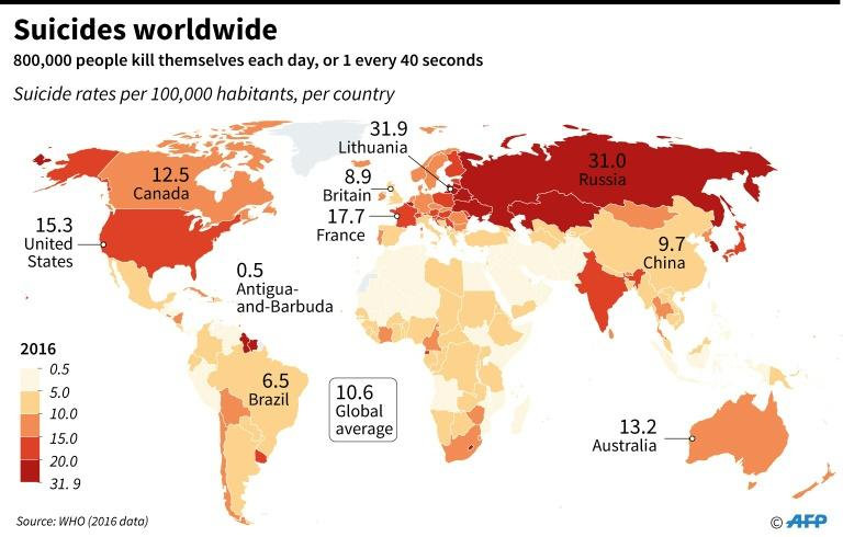 World map with suicide rates for selected countries