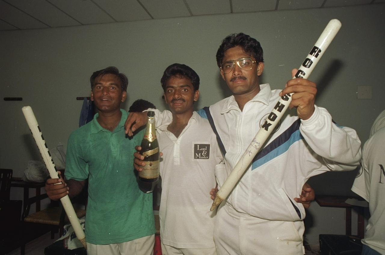 15 Feb 1993:  Chaqhuan Srinath and Anil Kumble of India celebrate after the Second Test match against England in Madras, India. India won the match by an innings and 22 runs. \ Mandatory Credit: Ben  Radford/Allsport