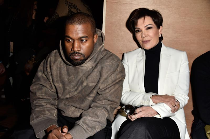 Kris Jenner and Kanye West attend the Givenchy show as part of the Paris Fashion Week Womenswear Fall/Winter 2016/2017 on March 6, 2016 in Paris, France.