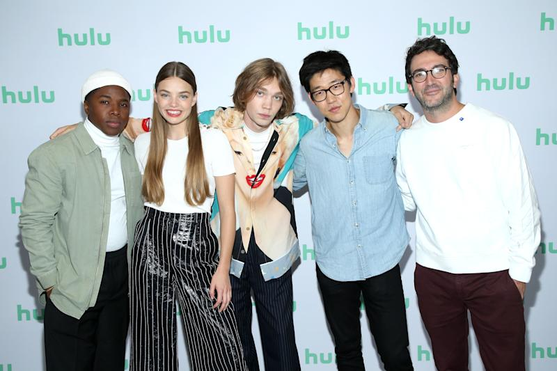 """Denny Love, Kristine Froseth, Charlie Plummer, Jay Lee, and Josh Schwartz of """"Looking for Alaska"""" attend the Hulu 2019 Summer TCA Press Tour at The Beverly Hilton Hotel on July 26, 2019 in Beverly Hills, California. (Photo: Phillip Faraone via Getty Images)"""