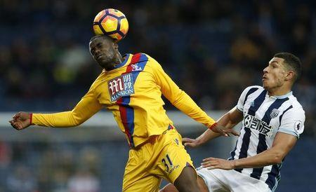 Crystal Palace's Jeffrey Schlupp in action with West Bromwich Albion's Jake Livermore