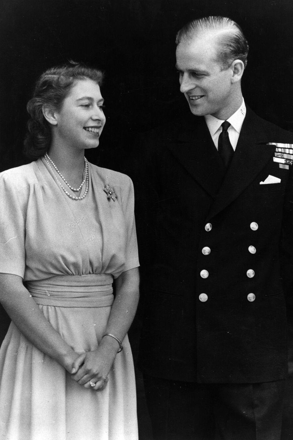 <p>With her then-fiancé, Prince Phillip, the Duke of Edinburgh.</p>