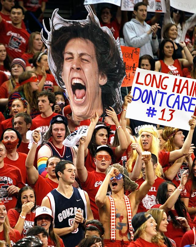 Gonzaga Bulldog fans hold a picture and sign for player Kelly Olynyk #13 during the game against the BYU Cougars at McCarthey Athletic Center on January 24, 2013 in Spokane, Washington. (Photo by William Mancebo/Getty Images)