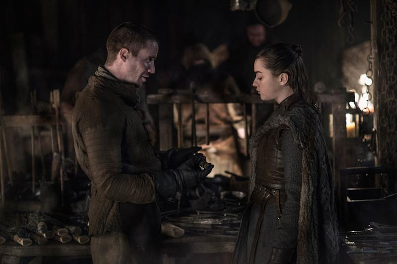 Arya (Maisie Williams) and Gendry (Joe Dempsie) on Game of Thrones