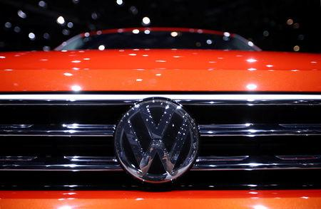 FILE PHOTO: A Volkswagen badge on a new model at the  Geneva International Motor Show