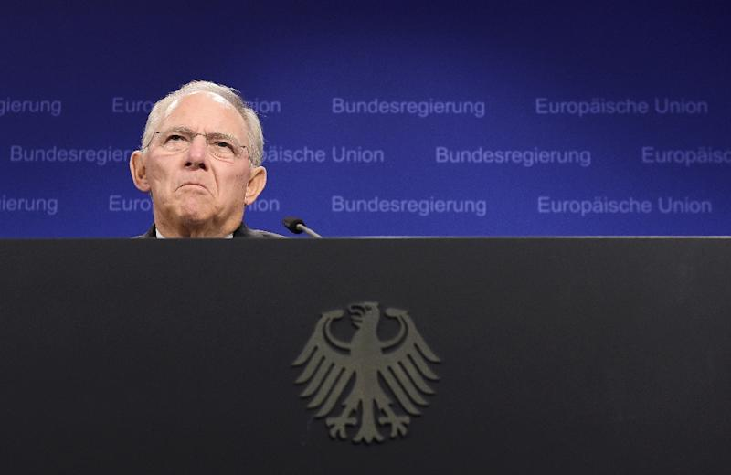 German Finance Minister Wolfgang Schaeuble gives a press conference during a Eurogroup meeting at EU headquarters in Brussels on June 27, 2015 (AFP Photo/John Thys)