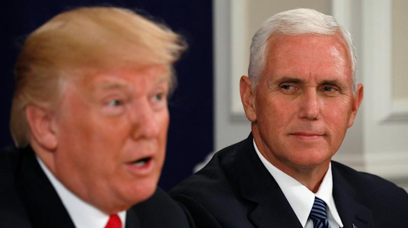 """President Donald Trump joked that Vice President Mike Pence """"wants to hang"""" all gay people, according to a profile of Pence published in The New Yorker on Monday."""