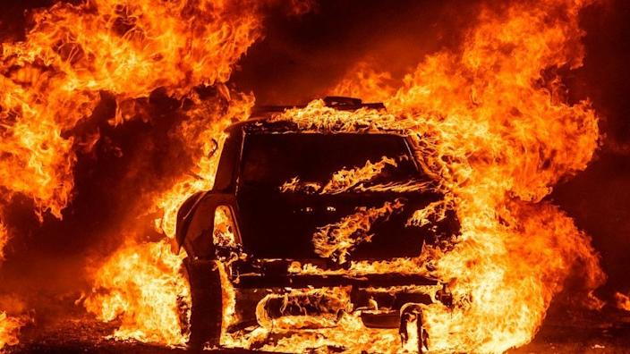 A car on fire in Vacaville