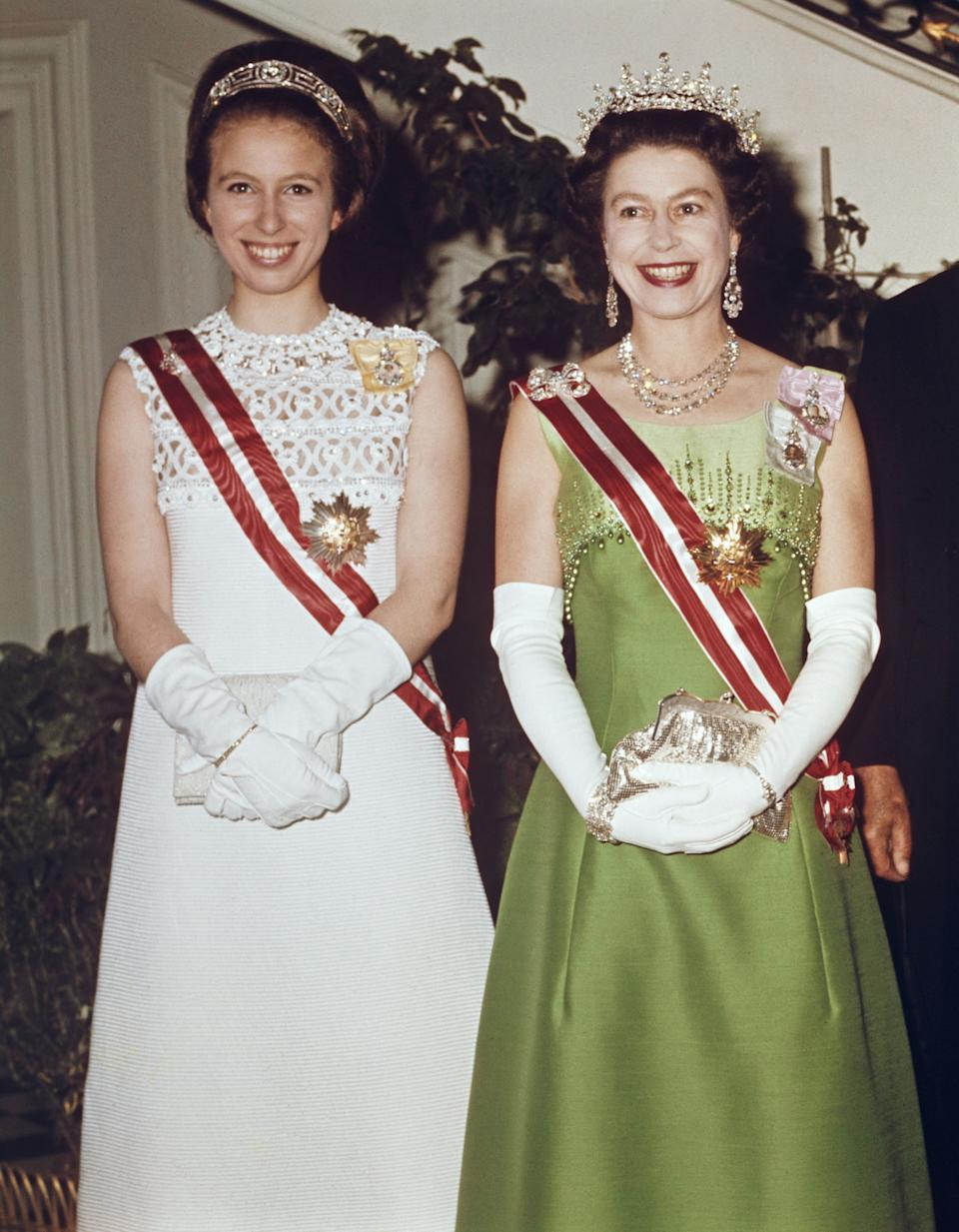 Queen Elizabeth and Princess Anne attend a function at the Hotel Imperial in Vienna on May 7, 1969.