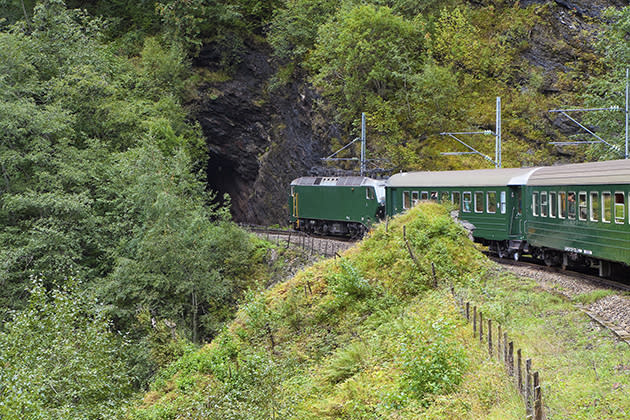 A train travels through the Scandinavian mountains (Thinkstock)