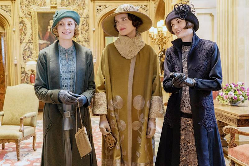 DOWNTON ABBEY, from left: Laura Carmichael, Elizabeth McGovern, Michelle Dockery, 2019. Ph: Liam Daniel / Focus Features / courtesy Everett Collection