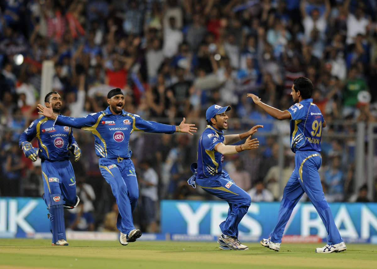 Dhawal Kulkarni of Mumbai Indians celebrate the wicket of  AB de Villiers Royal Challengers Bangalore during match 37 of the Pepsi Indian Premier League ( IPL) 2013  between The Mumbai Indians and the Royal Challengers Bangalore held at the Wankhede Stadium in Mumbai on the 27th April 2013. (BCCI)