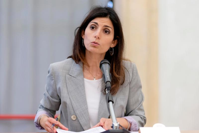 "RROME, ITALY - JUNE 07: The mayor of Rome Virginia Raggi during the press conference ""I Redeem myself for Rome"", a model to be exported to the national and international prison renewal"" on June 7, 2019 in Rome, Italy. The project ""I ransom myself for Rome"" involved a hundred prisoners. They come from the Rebibbia prison and, thanks to an agreement signed between Roma Capitale, the Ministry of Justice and the Department of Prison Administration, they have been involved in the maintenance of roads and green areas. A delegation formed by representatives of the Mexican penitentiary system and officials of the Mexican Office of the United Nations for the fight against drugs and crime"" interested in the project was present. (Photo by Stefano Montesi - Corbis/ Getty Images)"