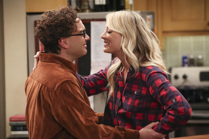 """This image released by CBS shows Johnny Galecki, left, and Kaley Cuoco in a scene from the series finale of """"The Big Bang Theory,"""" airing Thursday on CBS. (Michael Yarish/CBS via AP)"""