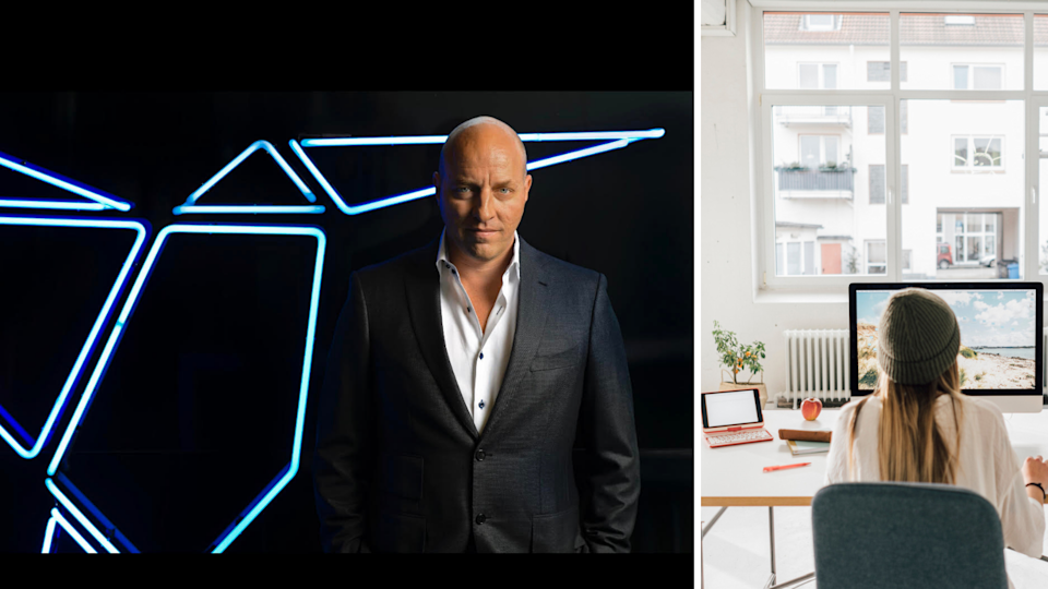 On the right, Matt Barrie wears a black suit jacket with a white shirt underneath. He stands in front of some neon blue shapes against a black background. He is staring at the camera. On the left, a girl sits at her desk working from home. She is in front of a computer, wearing a grey beanie and a white top. The apartment she is in is light-filled and there is a big window.