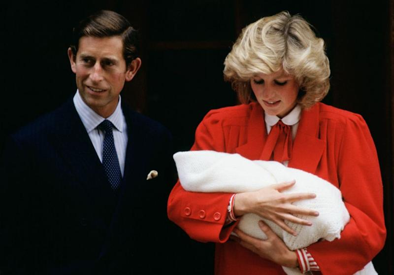 Prince Charles and Princess Diana just after the birth of Prince Harry. Source: Getty