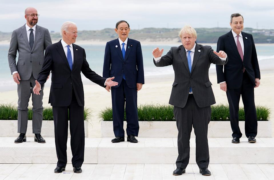 Leaders of the G7 pose during a group photo at the G7 meeting at the Carbis Bay Hotel (AP)