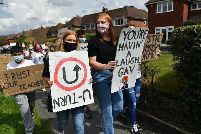 Students protest after the summer's A-level results