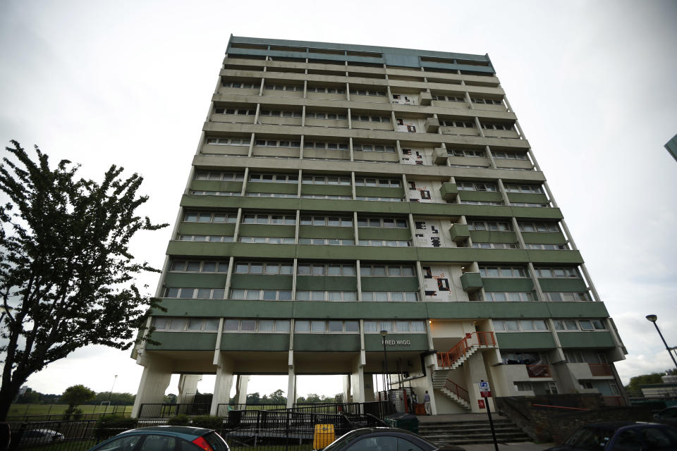 A general view shows the Fred Wigg Tower in Leytonstone, east London, Tuesday, July 10, 2012. A judgement is due to be handed down Tuesday after residents of the London apartment tower went to court Monday in a bid to stop their rooftop from being used as a missile base during the upcoming Olympic Games, saying the deployment in a densely-populated area could make the building a terrorist target. The British military plans to deploy surface-to-air missiles at six sites around London as part of a vast security operation for the July 27-Aug. 12, 2012 London Olympic Games, but residents of the 17-storey tower block say they were not consulted about the plans.(AP Photo/Matt Dunham)
