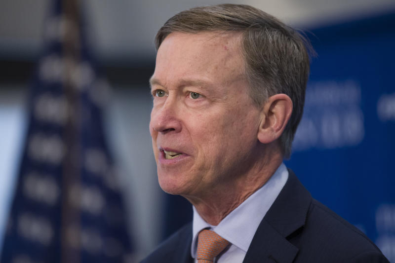 Former Colorado Governor John Hickenlooper speaks during a media availability at the National Press Club, Thursday, June 13, 2019, in Washington. (AP Photo/Alex Brandon)