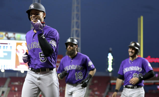 "<a class=""link rapid-noclick-resp"" href=""/mlb/teams/col"" data-ylk=""slk:Colorado Rockies"">Colorado Rockies</a> <a class=""link rapid-noclick-resp"" href=""/mlb/players/7934/"" data-ylk=""slk:Carlos Gonzalez"">Carlos Gonzalez</a> highlights this week's look at fantasy baseball pickups (AP Photo)."